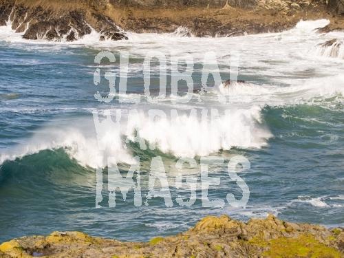 Waves at porthcothan on the North Cornish coast, UK.