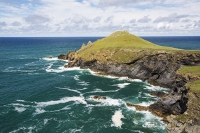 Cornwall;UK;coast;sea;Atlantic-ocean;headland;edge;summer;sea-cliff;bay;inlet;sea-cliff;turquoise;aquamarine;promontary;landscape;colourful;cliff;sea-cliff;crag;Granite;Igneous;The-Rumps;Rumps-Point;colourful;landscape;swell;pattern