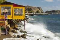 Lesvos;Lesbos;island;Greece;coast;Aegean;Mediteranean;Skala-Eresou;Europe;taverna;cafe;restaurant;seafront;location;bar;location;chair;seating;yellow;steps;wave;crashing;beach;shore;Lesbian
