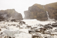 climate-change;global-warming;Orkney;mainland;coast;sea;North-Sea;Deerness;weather;storm;wind;windy;gale;strong-wind;exposed;wave;breaking;crashing;coastal-erosion;coastal-defences;road;battered;overun;storm-damage;storm-erosion;extreme;extreme-weather;spume;foam;whipped-up;white-water;inlet-bay;waterfall;cliff;sea-cliff;rocks;beach;exposed