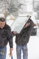 Lake-District;Cumbria;UK;Winter;cold;snow;snowing;snow-storm;weather;precipitation;visibility;Ambleside;walker;walking;glass;glazier;double-glazing;unit;carry;load;hazardous