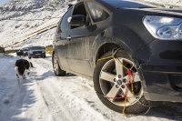 Lake-District;Cumbria;National-Park;UK;winter;cold;snow;weather;mountain;hill;road;car;driving;backdrop;stuck;mountain-pass;Kirkstone-Pass;snow-chains;wheel;tyre;dog;Border-Collie