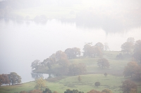 mist;misty;fog;foggy;visability;poor-visibility;air-quality;weather;Lake-District;national-park;UK;shore;lake;Windermere;Lake-Windermere;Autumn;Fall;tree;lake-shore