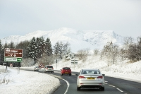 Lake-District;Cumbria;weather;winter;snow;mountain;hill;Blencathra;cloud;weather;winter-weather;white;season;road;travel;motorist;car;vehicle;A66;driving-conditions