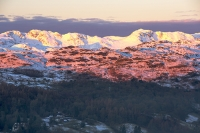 sunrise;dawn;light;glow;snow;winter;weather;hill;mountain;Lake-District;Cumbria;UK;snowfall;white;cold;freezing;snow-pack;slope;pink;cloud;view;vista;expensive;Ambleside;Bow-Fell;Crinkle-Crags;Langdale;glow