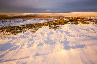 mountain;hill;weather;high-pressure;winter;cold;snow;Hartside;vista;view;fence;Pennines;North-Pennines;Hartside;dusk;sunset;cloud;mountain-pass;contrast;snowpack;sunset;glow;warm;light;moorland;sedge;landscape;peat;Black-Fell