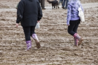mud;muddy;field;churned-up;quagmire;wet;saturated;weather;rain;soil;trample;trampled;Lowther;Penrith;Cumbria;UK;World-Sheep-Dog-Trials;competition;event;wellies;wellingtons;wellington-boots;boots;walking;pink;board-walk;struggle;struggling;footwear;woman;person;patterned;colourful