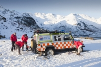 winter;cold;snow;mountain;hill;Lake-District;Cumbria;UK;Land-Rover;car;mountain-rescue;stuck;bog;bogged-down;marshy;soft-ground;grounded
