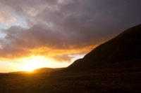 landscape;sky;cloud;Orkney;sunrise;dawn;Hoy;glow;sun;orange;hill;mountain;moorland;underlighting