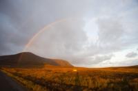 landscape;sky;cloud;Orkney;sunrise;dawn;Hoy;glow;sun;orange;hill;mountain;moorland;underlighting;peat;rain;raining;shower;weather;rainbow;double-rainbow;refraction;spectrum