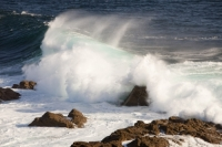 sea;wave;Atlantic;ocean;shore;crashing;white-water;spray;rock;Cape-Cornwall;UK;St-Just;tidal;wave-energy