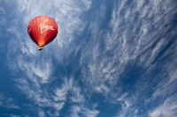 Dubai;middle-East;sky;blue;cloud;high-cloud;hot-air-balloon;balloon;basket;red;Virgin;brand;logo;flying;flight;airbourne;aloft;wind;drift;drifting