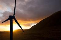 landscape;sky;cloud;Orkney;sunrise;dawn;Hoy;glow;sun;orange;hill;mountain;moorland;underlighting;energy;power;renewable-energy;clean;green;carbon-footprint;wind-power;wind-turbine;blade