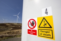 Southern-Uplands;Biggar;Scotland;UK;hill;moor;moorland;sky;blue;climate-change;carbon;Borders;wind-turbine;wind-farm;renewable;renewable-energy;Clyde-Wind-farm;blade;turbine-blade;wind-energy;wind-power;carbon-neutral;clean;green;global-warming;electricity;generating;generation;red;yellow;danger;no-entry;contrail;vapour-trail;aviation;jet;emissions