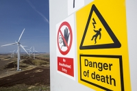 Southern-Uplands;Biggar;Scotland;UK;hill;moor;moorland;sky;blue;climate-change;carbon;Borders;wind-turbine;wind-farm;renewable;renewable-energy;Clyde-Wind-farm;blade;turbine-blade;wind-energy;wind-power;carbon-neutral;clean;green;global-warming;electricity;generating;generation;red;yellow;danger;no-entry