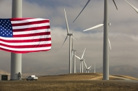 USA;US;America;California;Mojave-Desert;desert;electricity;generating;renewable;renewable-energy;wind-power;carbon-neutral;climate-change;global-warming;investment;clean-energy;technology;construction;green;green-energy;wind-turbine;wind-farm;truck;crane;Tehachapi-Pass;turning;rotating;tower;frame;truck;pickup-truck;vehicle;engineer;green-jobs;employment;composite;flag;red;blue;stars-and-stripes;petriot;patriotic;pride