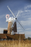 windmill;Cley-Next-the-Sea;North-Norfolk;UK;reed-bed;phragmites;coast;wind-power;building;architecture;sail;balcony;brick;local-architecture;house