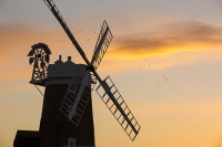 windmill;Cley-Next-the-Sea;North-Norfolk;UK;coast;wind-power;building;architecture;sail;house;sky;clear;dusk;evening;sunset;glow;orange;colourful;bird;flight;fly;flying;flock;Lapwing;wader;Vanellus-vanellus